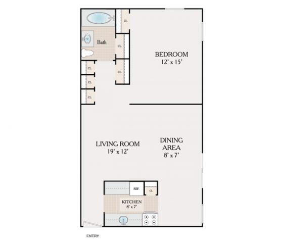 1 Bedroom. 692 sq. ft.