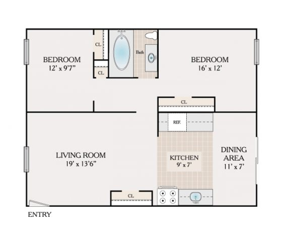 2 Bedroom. 864 sq. ft.